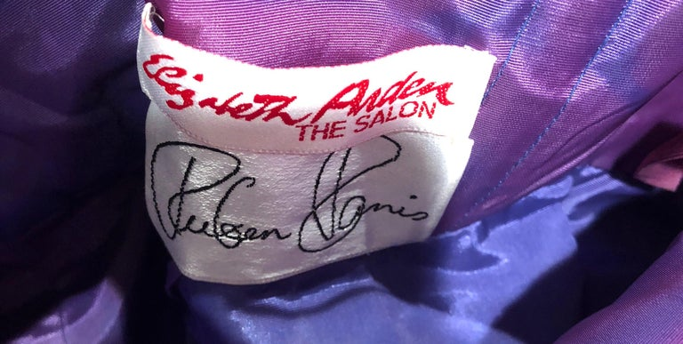 Avant Garde Ruben Parnis 1980s Sz 8 / 10 Vintage One Shoulder Prurple Silk Gown For Sale 13