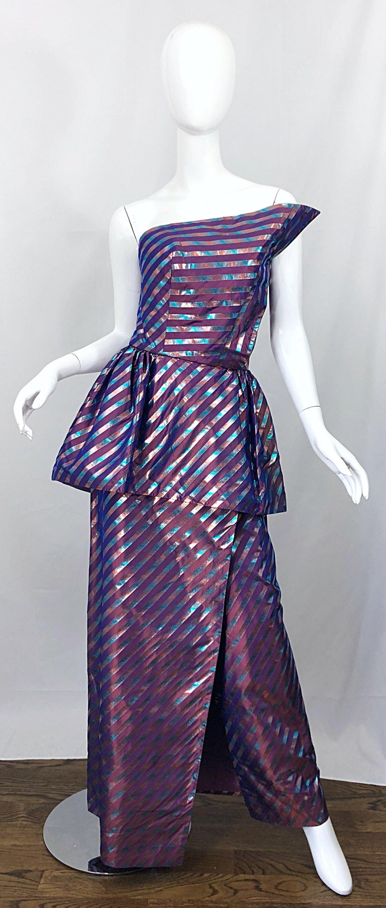 Gray Avant Garde Ruben Parnis 1980s Sz 8 / 10 Vintage One Shoulder Prurple Silk Gown For Sale
