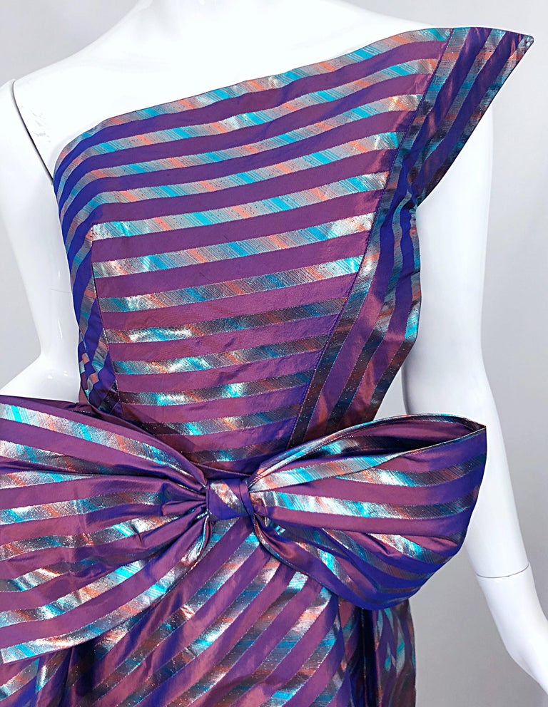 Avant Garde Ruben Parnis 1980s Sz 8 / 10 Vintage One Shoulder Prurple Silk Gown In Excellent Condition For Sale In Chicago, IL