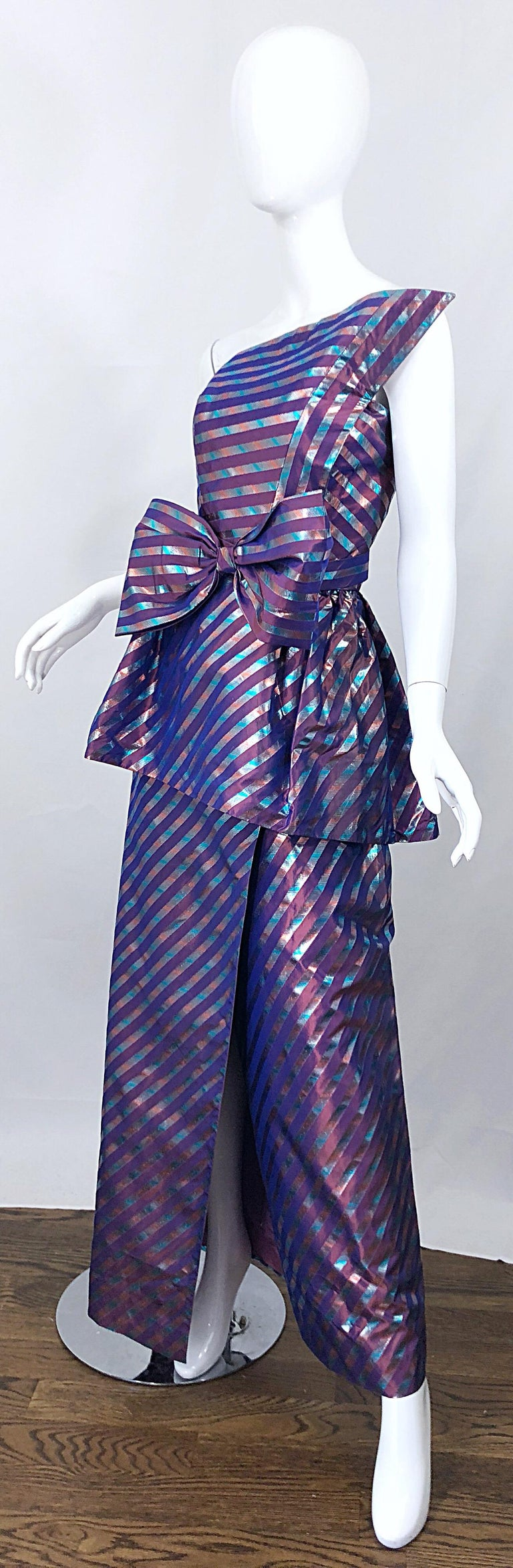 Women's Avant Garde Ruben Parnis 1980s Sz 8 / 10 Vintage One Shoulder Prurple Silk Gown For Sale