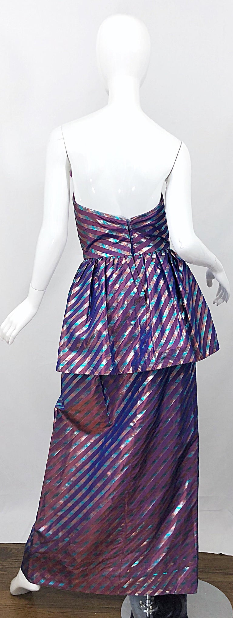 Avant Garde Ruben Parnis 1980s Sz 8 / 10 Vintage One Shoulder Prurple Silk Gown For Sale 1