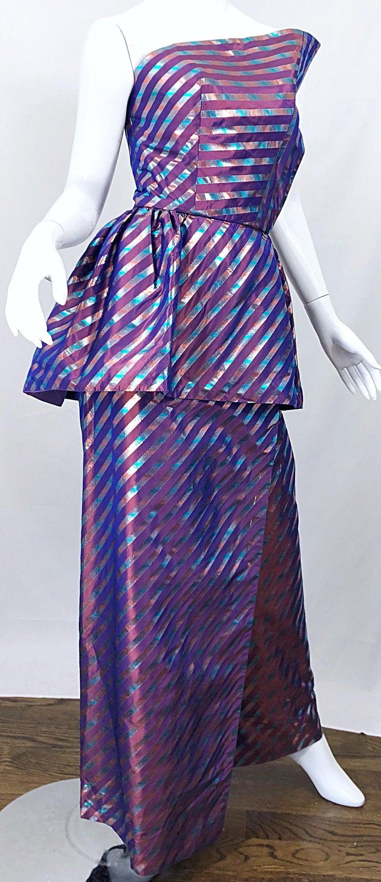 Avant Garde Ruben Parnis 1980s Sz 8 / 10 Vintage One Shoulder Prurple Silk Gown For Sale 2