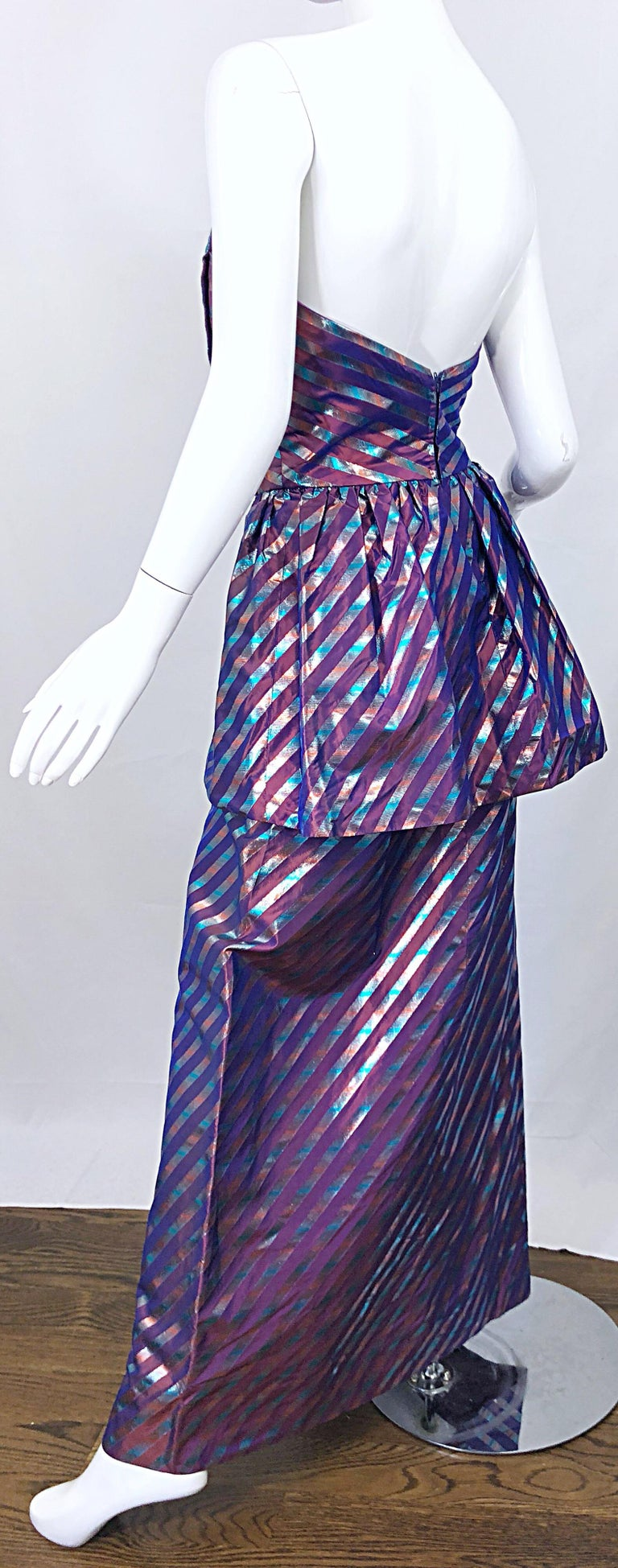 Avant Garde Ruben Parnis 1980s Sz 8 / 10 Vintage One Shoulder Prurple Silk Gown For Sale 3