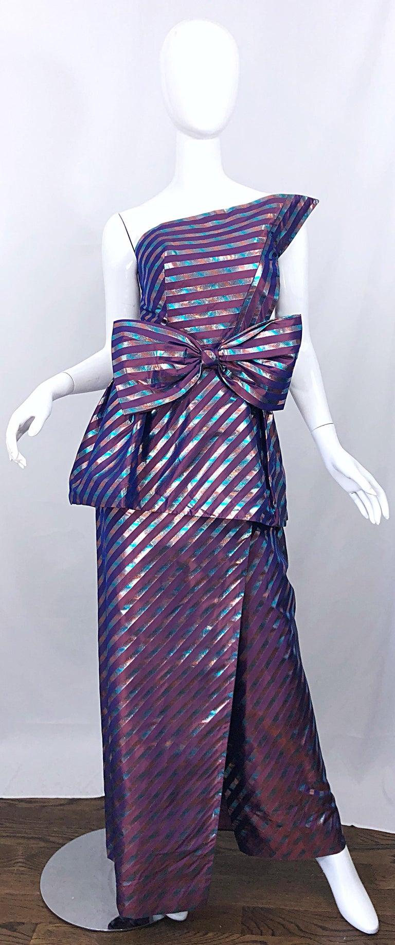 Avant Garde Ruben Parnis 1980s Sz 8 / 10 Vintage One Shoulder Prurple Silk Gown For Sale 4