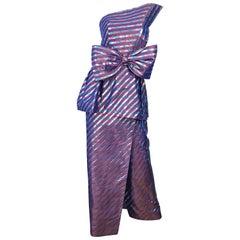 Avant Garde Ruben Parnis 1980s Sz 8 / 10 Vintage One Shoulder Prurple Silk Gown