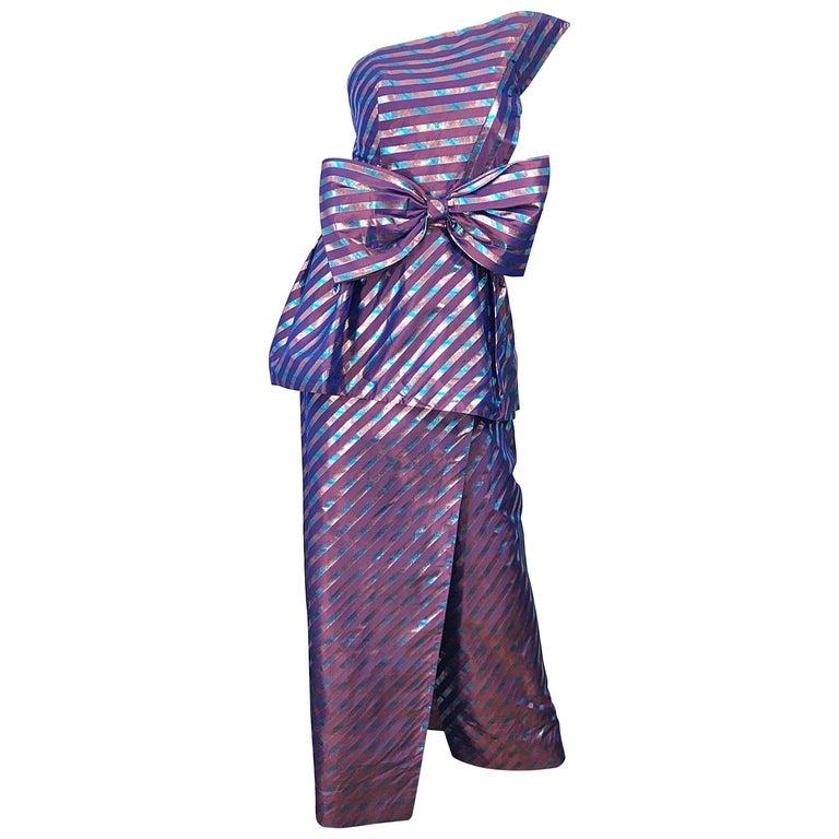 Avant Garde Ruben Parnis 1980s Sz 8 / 10 Vintage One Shoulder Prurple Silk Gown For Sale