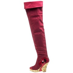 Avantgarde Chanel Red Thigh High Fabric CC Logo Intarsia Wedge High Heeled Boots