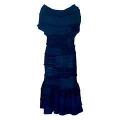 Avantgardistic Chanel Black Ruched Knit Dress