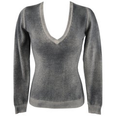 AVANTI Size S Grey Washed Effect Cashmere V Neck Sweater