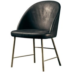Avec Moi Chair in Black Aniline Leather and Polished Brass