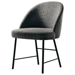 Avec Moi Chair in Boucle Fabric and Matte Black Metal