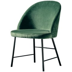 Avec Moi Chair in Green Velvet and Polished Black Metal
