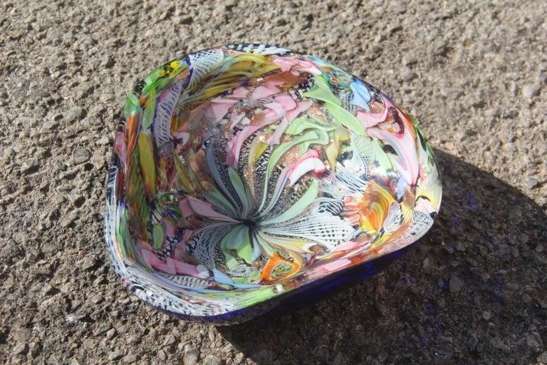 Avem bowl glass Murano Italian design, 1950s multicolor Toso Martens Stile. Colors very particular and rare.