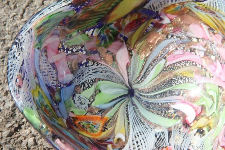 Mid-20th Century Avem Bowl Glass Murano Italian Design, 1950s Multicolor Toso Martens For Sale