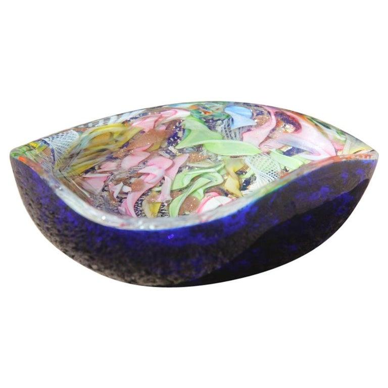 Avem Bowl Glass Murano Italian Design, 1950s Multicolor Toso Martens For Sale