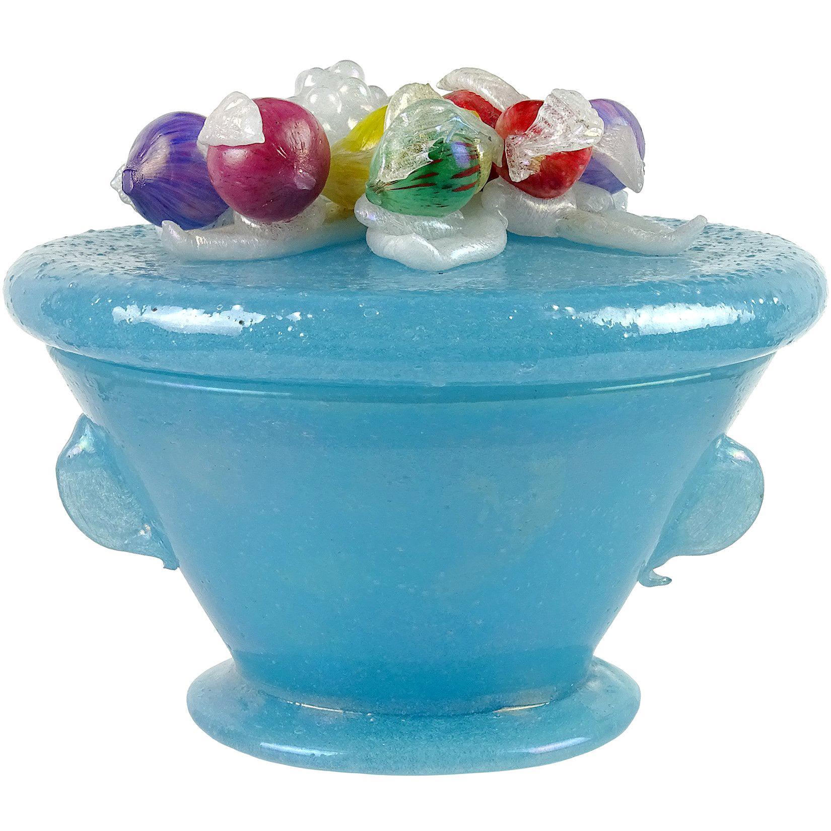 A.Ve.M. Murano Blue Iridescent Pulegoso Italian Art Glass Vanity Powder Box