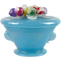 A.Ve.M. Murano Blue Iridescent Pulegoso Italian Art Glass Vanity Powder Box
