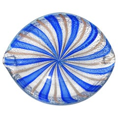A.Ve.M. Murano Blue Silver Aventurine Flecks Italian Glass Striped Bowl Ashtray