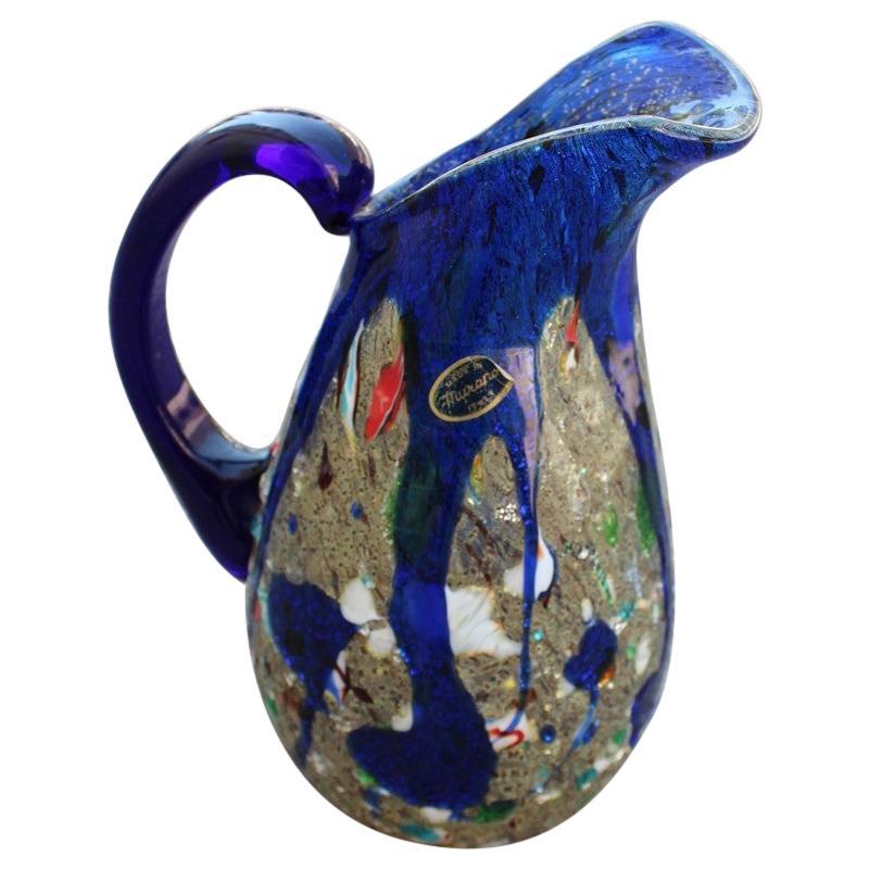 Avem Murano Glass Pitcher Cobalt Blue Murano Glass Italian Design Midcentury
