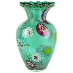 A.Ve.M. Murano Green Millefiori Silver Flecks Italian Art Glass Flower Vase