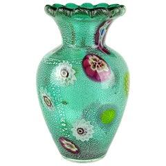 A.Ve.M. Murano Green Millefiori Silver Flecks Italian Art Glass Flower Vase