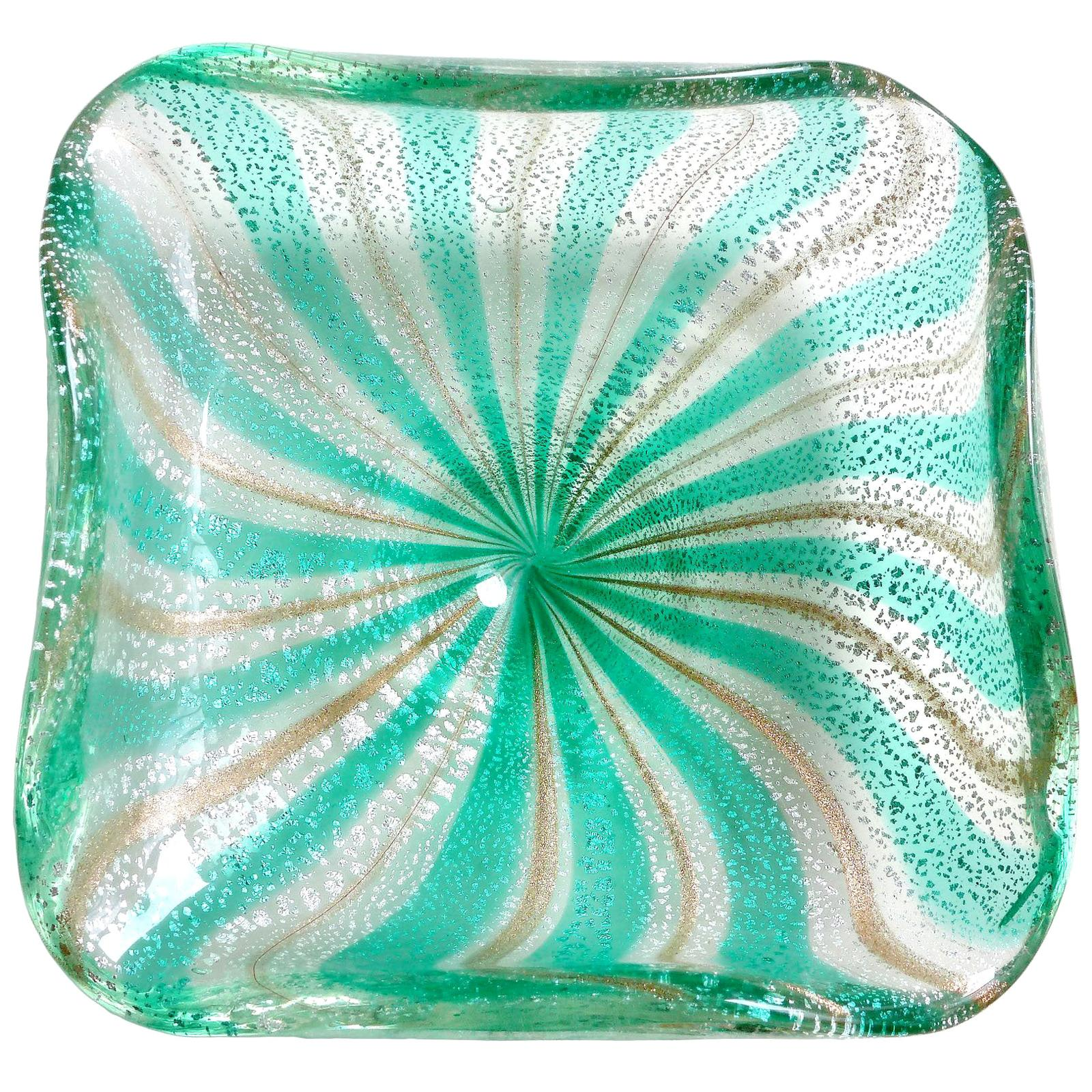 A.Ve.M. Murano Green Silver Aventurine Flecks Italian Glass Striped Bowl