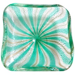 A.Ve.M. Murano Green Silver Aventurine Flecks Italian Glass Striped Bowl