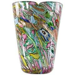 A.Ve.M. Murano Red Millefiori Copper Flecks Ribbon Italian Art Glass Flower Vase