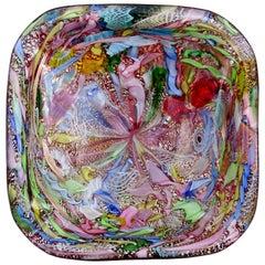 A.Ve.M. Murano Red Millefiori Flower Silver Flecks Ribbon Italian Art Glass Bowl