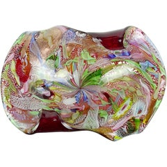 A.Ve.M. Murano Red Millefiori Flower Silver Flecks Ribbon Italian Art Glass Bowl