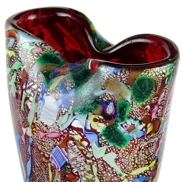 Hand-Crafted A.Ve.M. Murano Red Millefiori Silver Flecks Ribbon Italian Art Glass Flower Vase For Sale