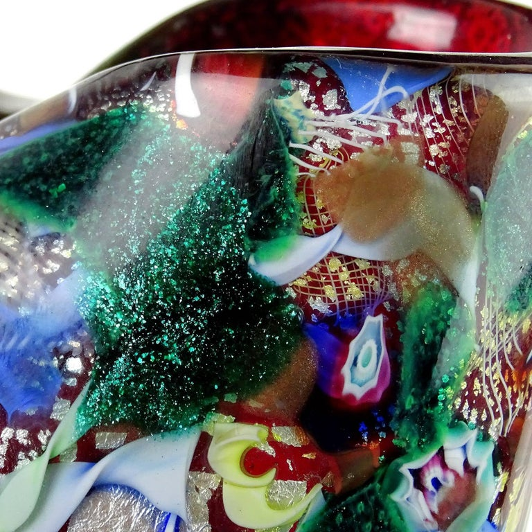 Silver Leaf A.Ve.M. Murano Red Millefiori Silver Flecks Ribbon Italian Art Glass Flower Vase For Sale
