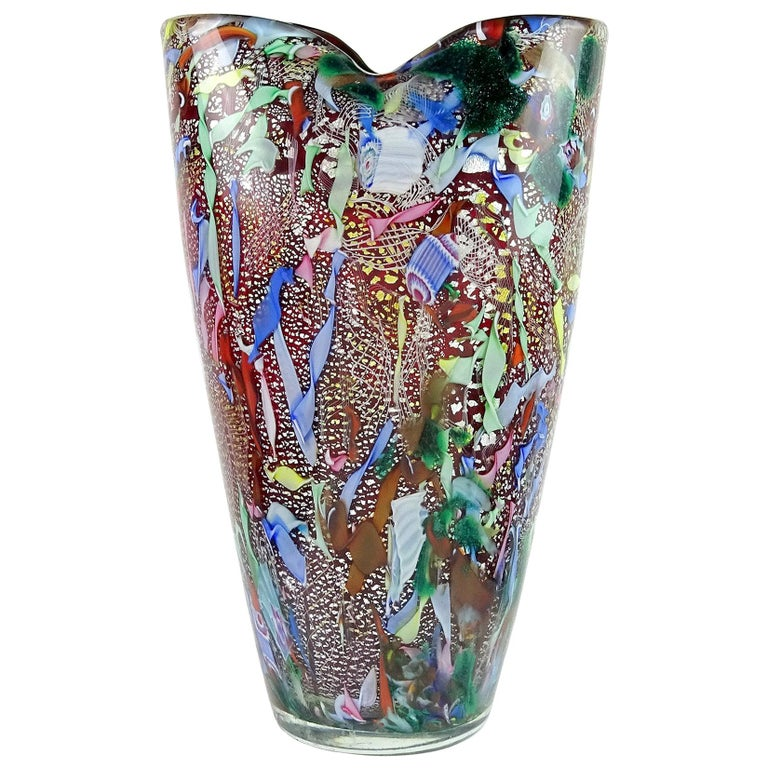 A.Ve.M. Murano Red Millefiori Silver Flecks Ribbon Italian Art Glass Flower Vase For Sale