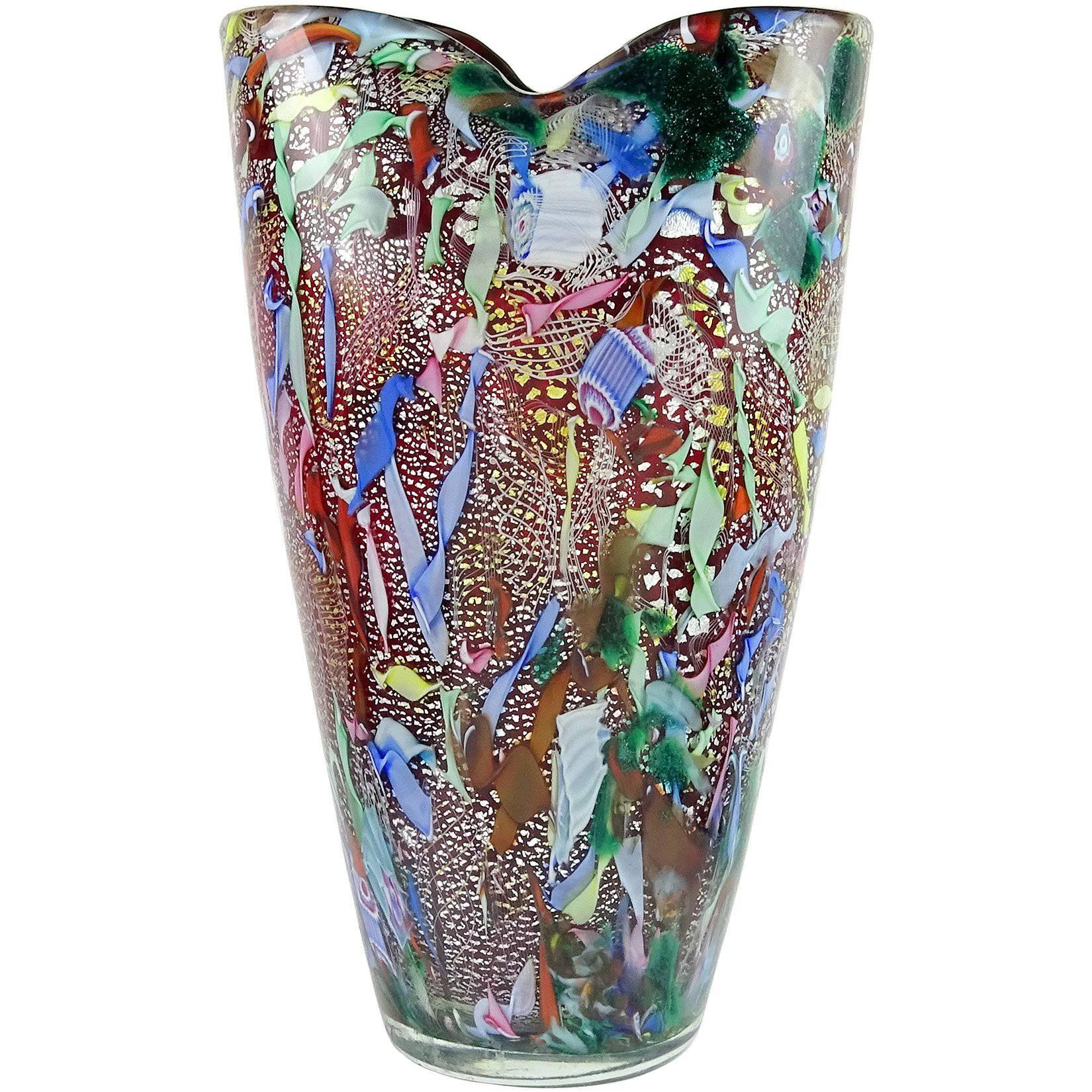 225 & A.Ve.M. Murano Red Millefiori Silver Flecks Ribbon Italian Art Glass Flower Vase