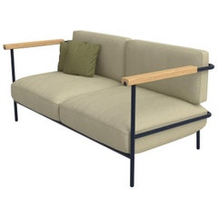 Avenida Mexico Outdoor Two-Seat Sofa, Powder-Coated Metal and Fabric