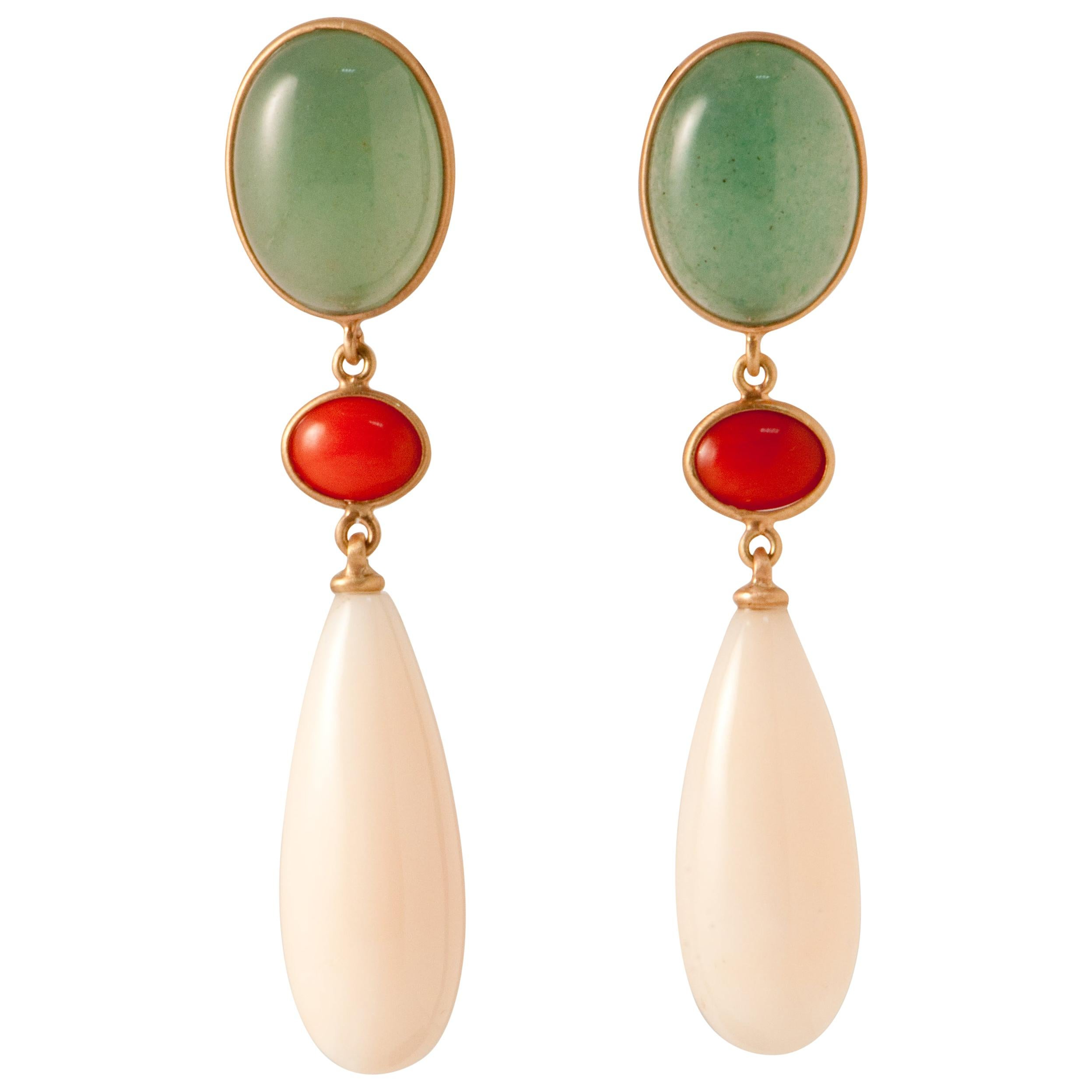 Aventurine, Coral, Angel Skin Coral and Pink Gold Chandelier Earrings