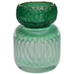 Aventurine Geode Jar, a Green Cast Glass Sculpture with Gold by Angela Jarman
