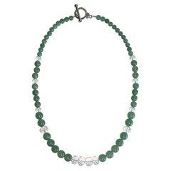 Aventurine & Quartz Faceted Rondelle Necklace