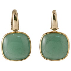 Aventurine, Yellow Gold 18 Carat Leverback Earrings