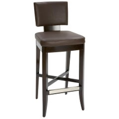 Avenue Bar Stool in Brown Leather with Dark Wood Finish by Powell & Bonnell