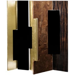 Avenue Folding Screen in Black, Gold with Wood Details