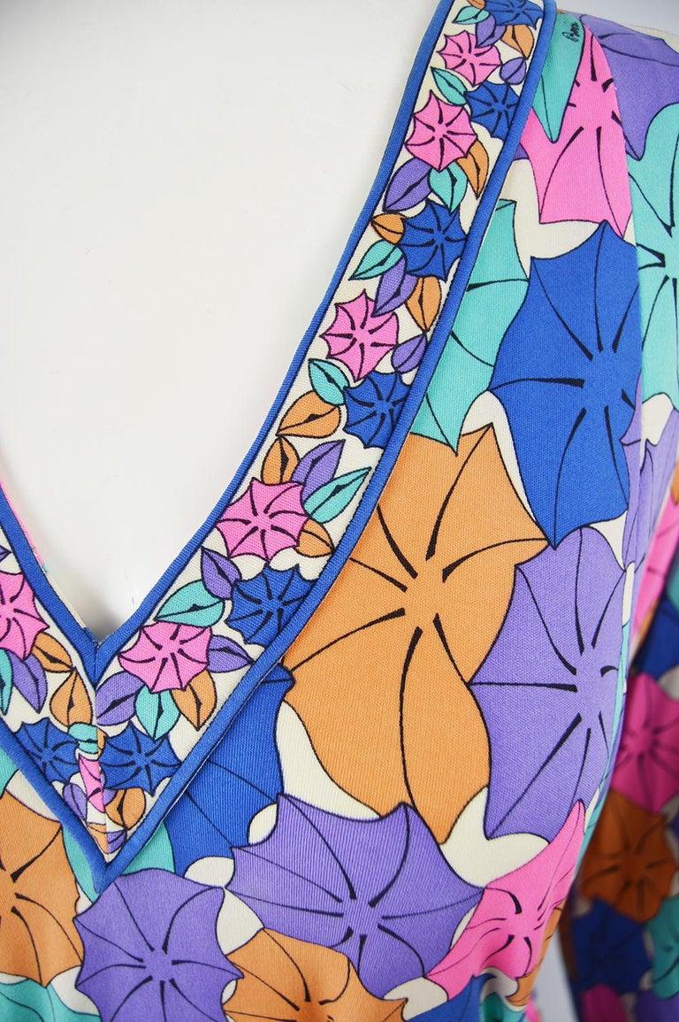 Purple Averardo Bessi 1980s Silk Jersey Vintage Umbrella Print Belted Shift Dress For Sale