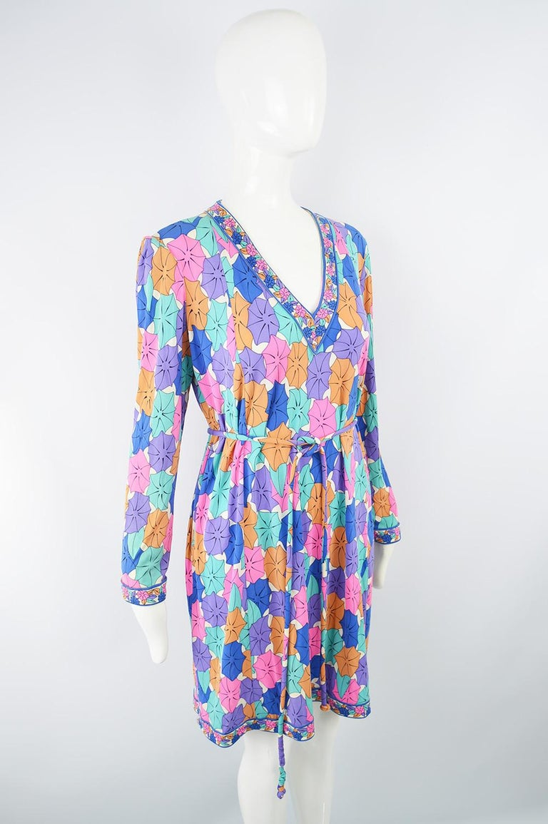 Averardo Bessi 1980s Silk Jersey Vintage Umbrella Print Belted Shift Dress In Excellent Condition For Sale In Doncaster, South Yorkshire