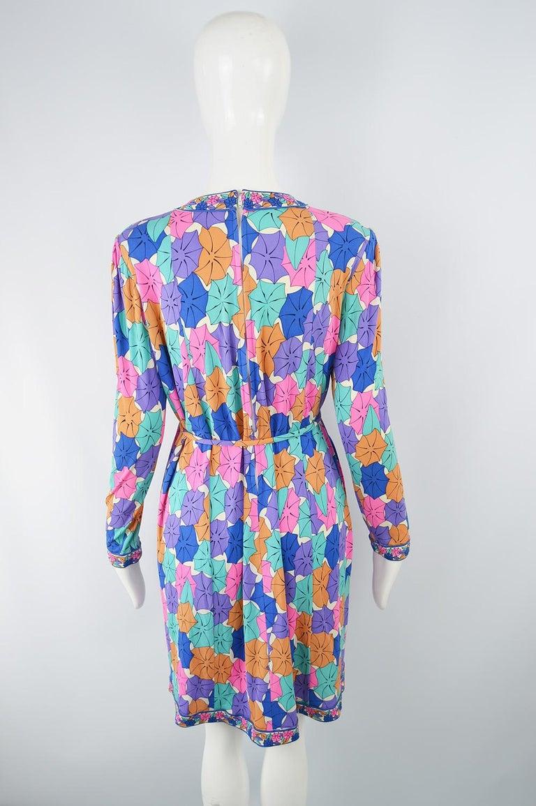 Averardo Bessi 1980s Silk Jersey Vintage Umbrella Print Belted Shift Dress For Sale 2