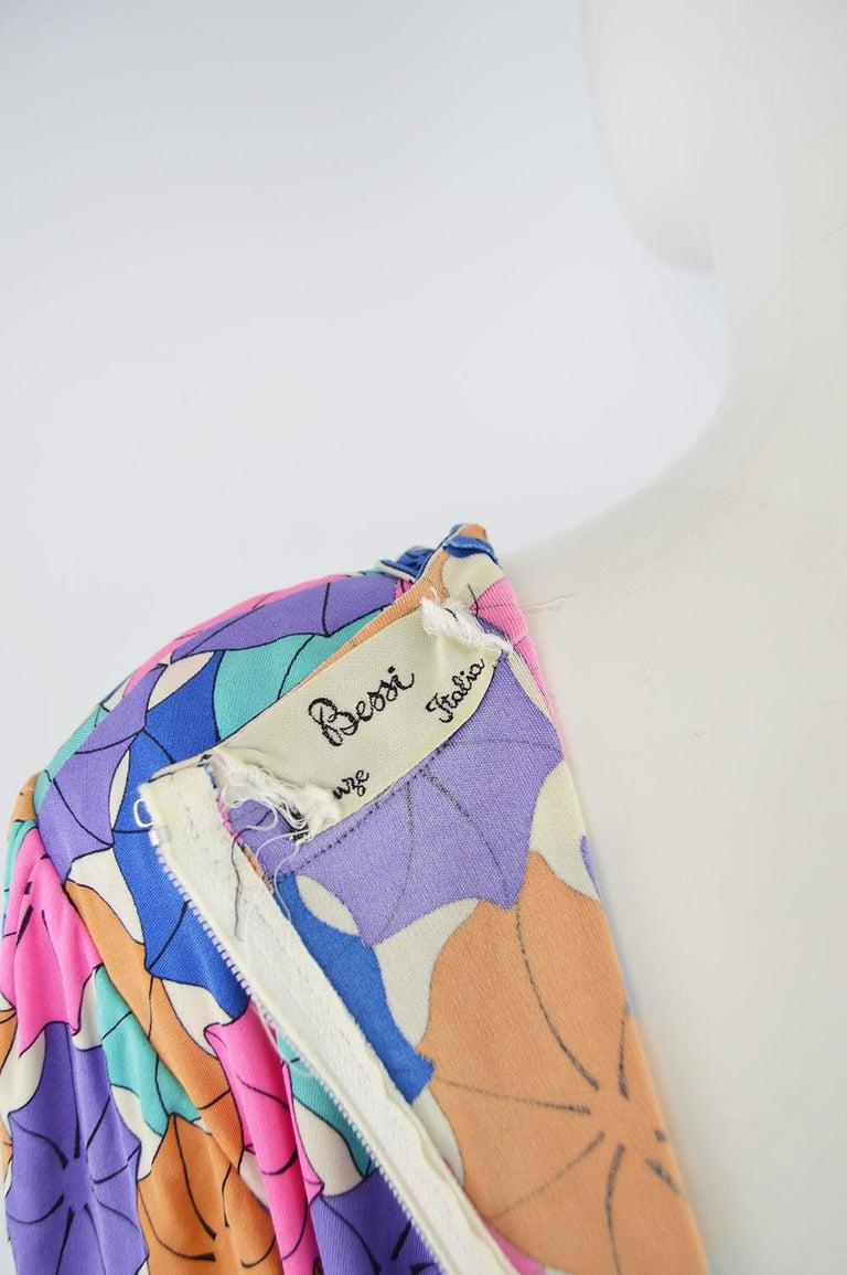 Averardo Bessi 1980s Silk Jersey Vintage Umbrella Print Belted Shift Dress For Sale 3