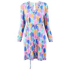 Averardo Bessi 1980s Silk Jersey Vintage Umbrella Print Belted Shift Dress