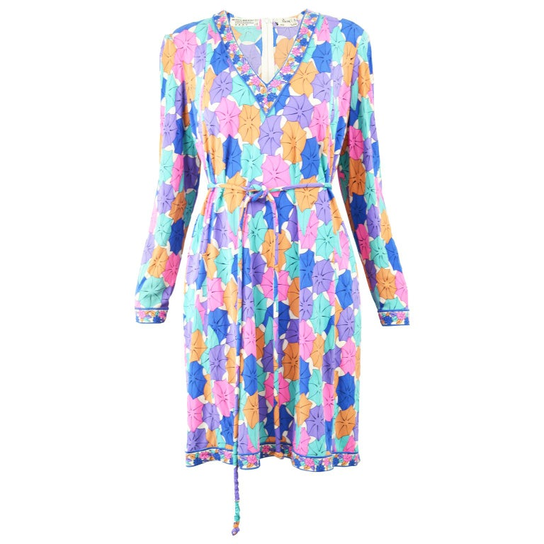Averardo Bessi 1980s Silk Jersey Vintage Umbrella Print Belted Shift Dress For Sale