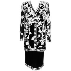 Averardo Bessi Black and White Silk Skirt Suit