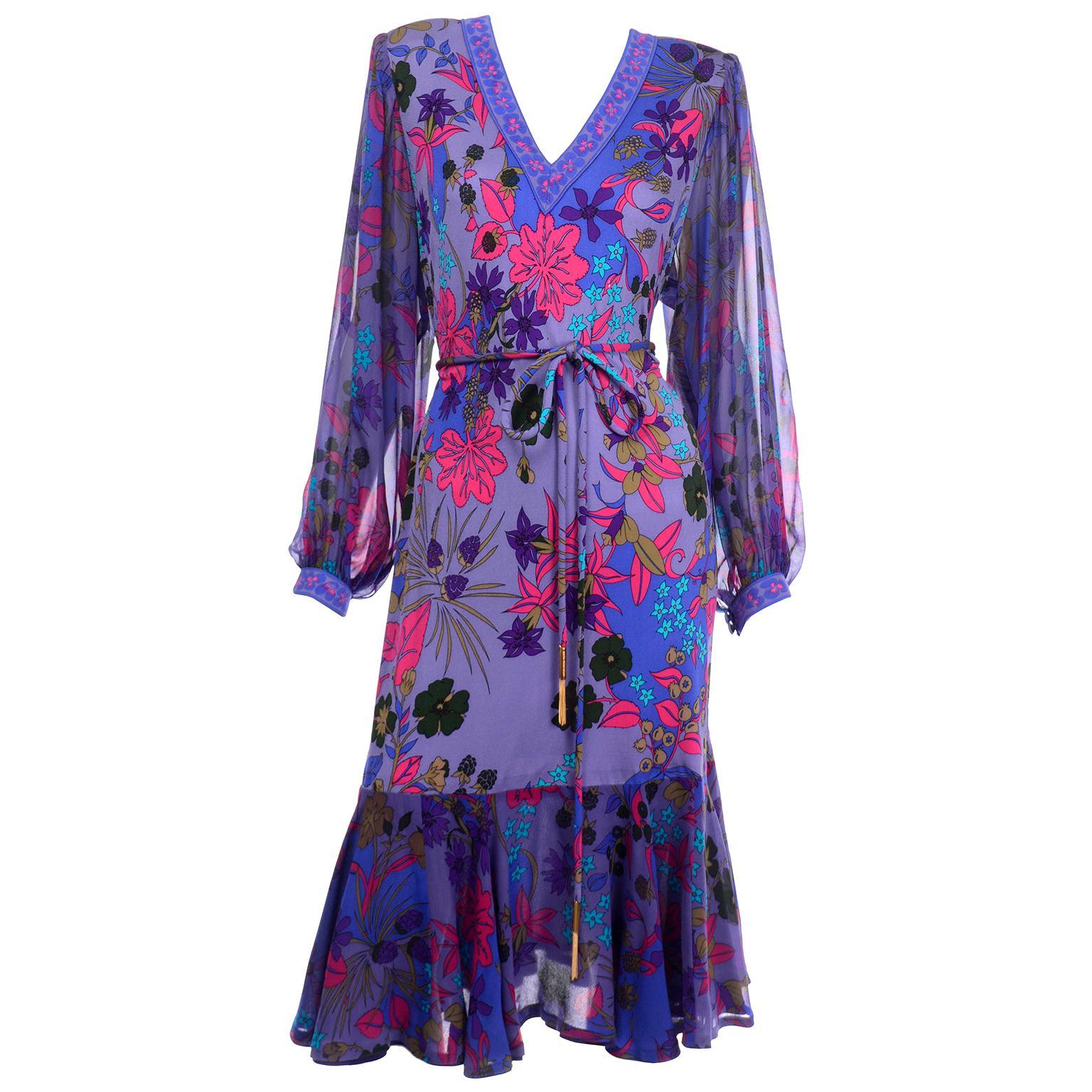 Averardo Bessi Italy Vintage Purple Floral Silk Jersey Dress With Belt