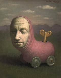 Remnant of Chilhood, Avery Palmer, Oil painting, pop surreal figure as pink toy